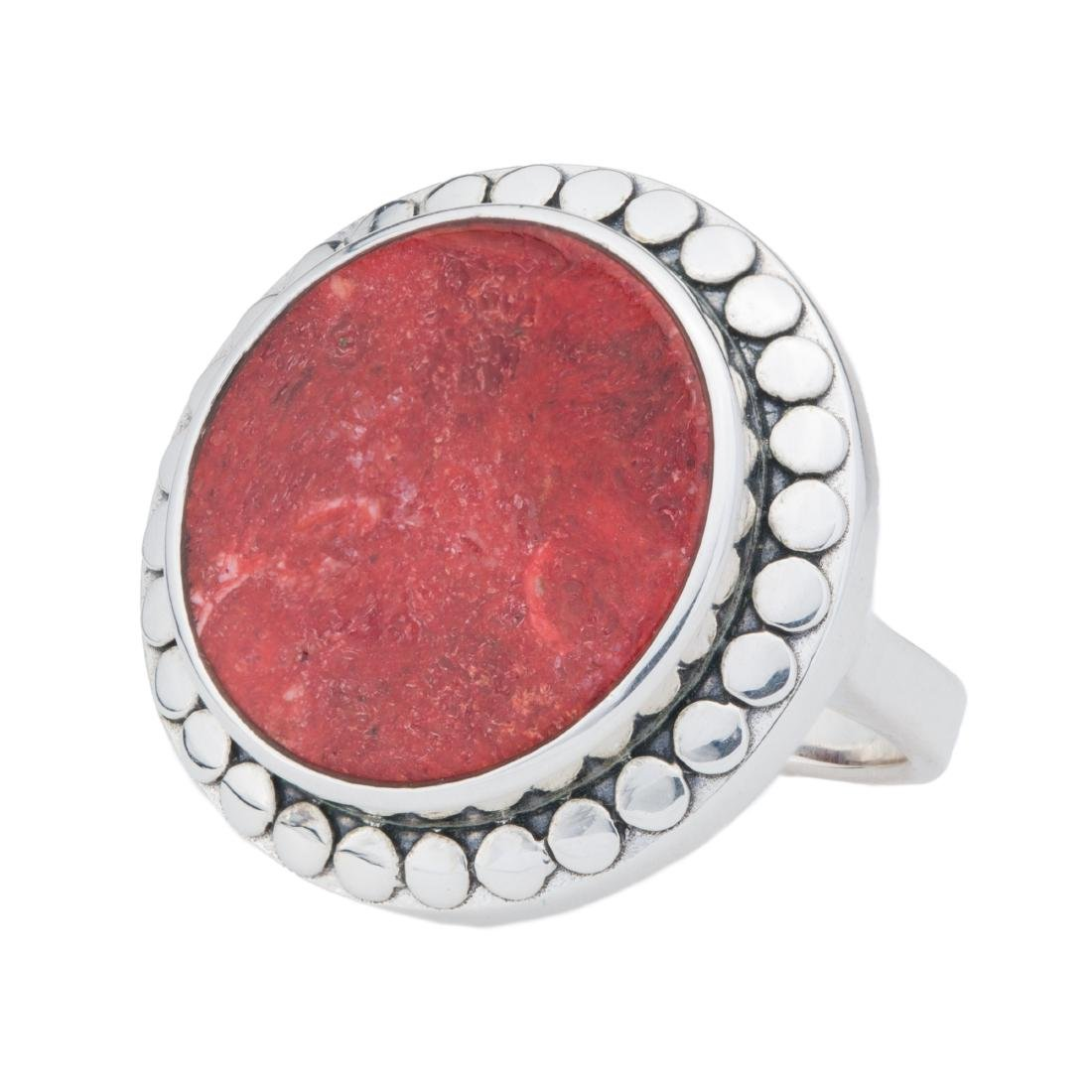 Sterling Silver 18mm Red Coral Beaded Halo Ring