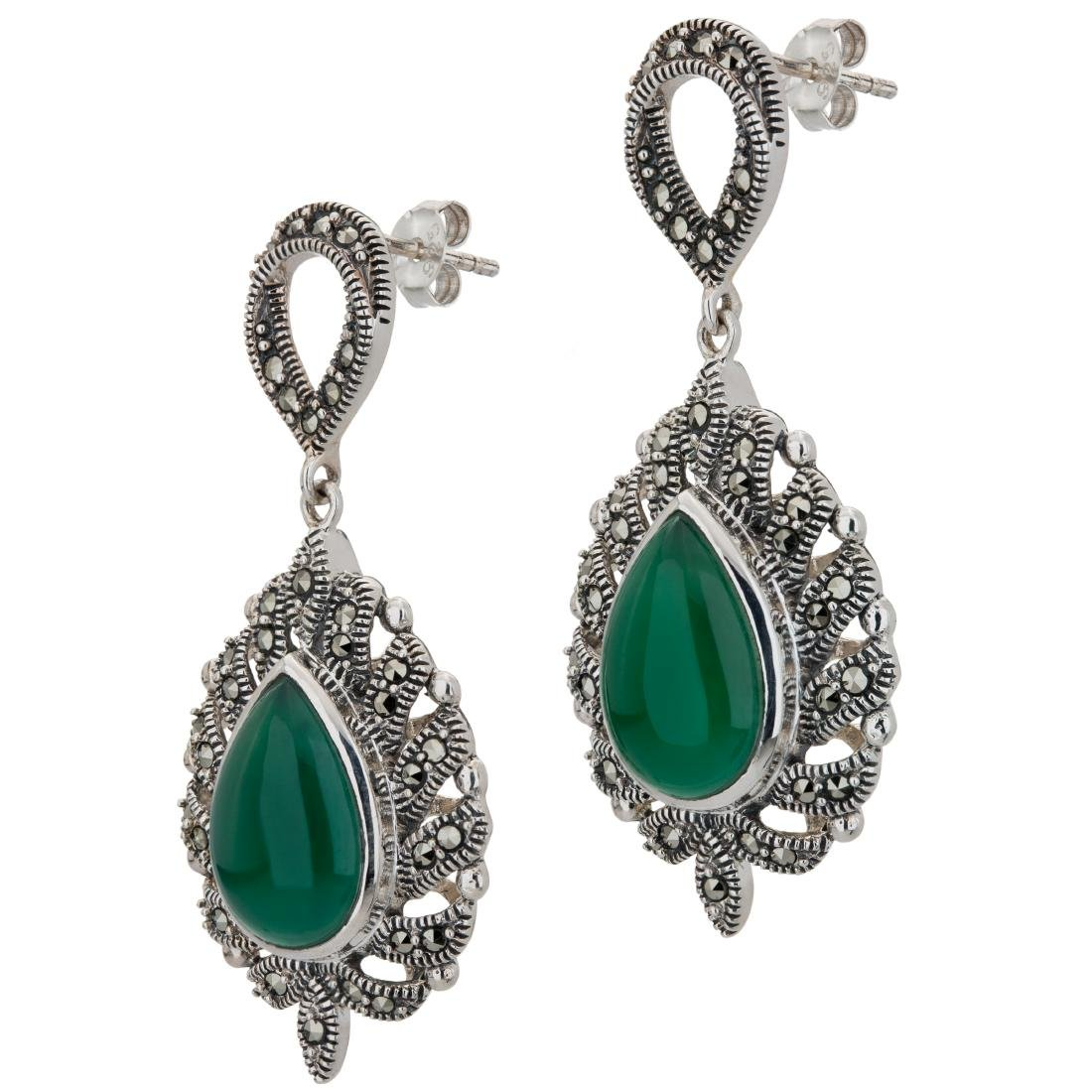 Marcasite and Green Agate Pear Drop Earrings