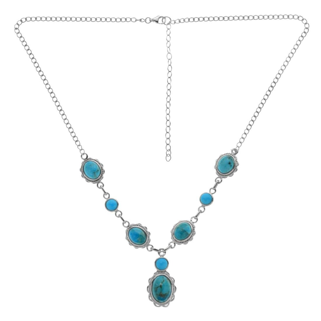 """Sterling Silver 18"""" Oval & Round Turquoise Necklace"""
