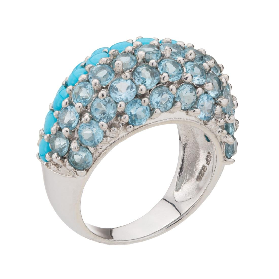 Sterling Silver Sleeping Beauty & Blue Topaz Dome Ring
