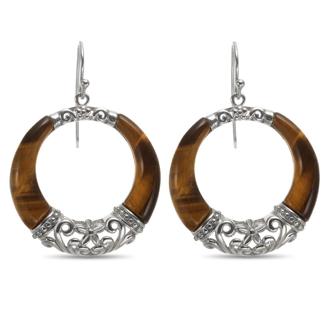 Sterling Silver Tiger's Eye Dangle Circle Earrings