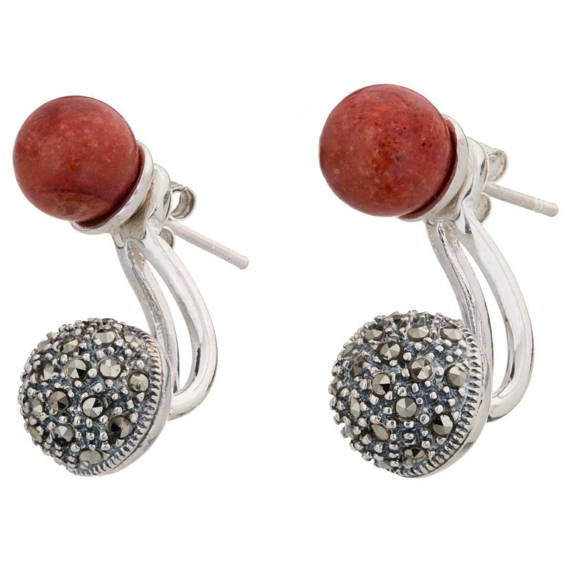 Red Coral with Marcasite Jacket Earrings