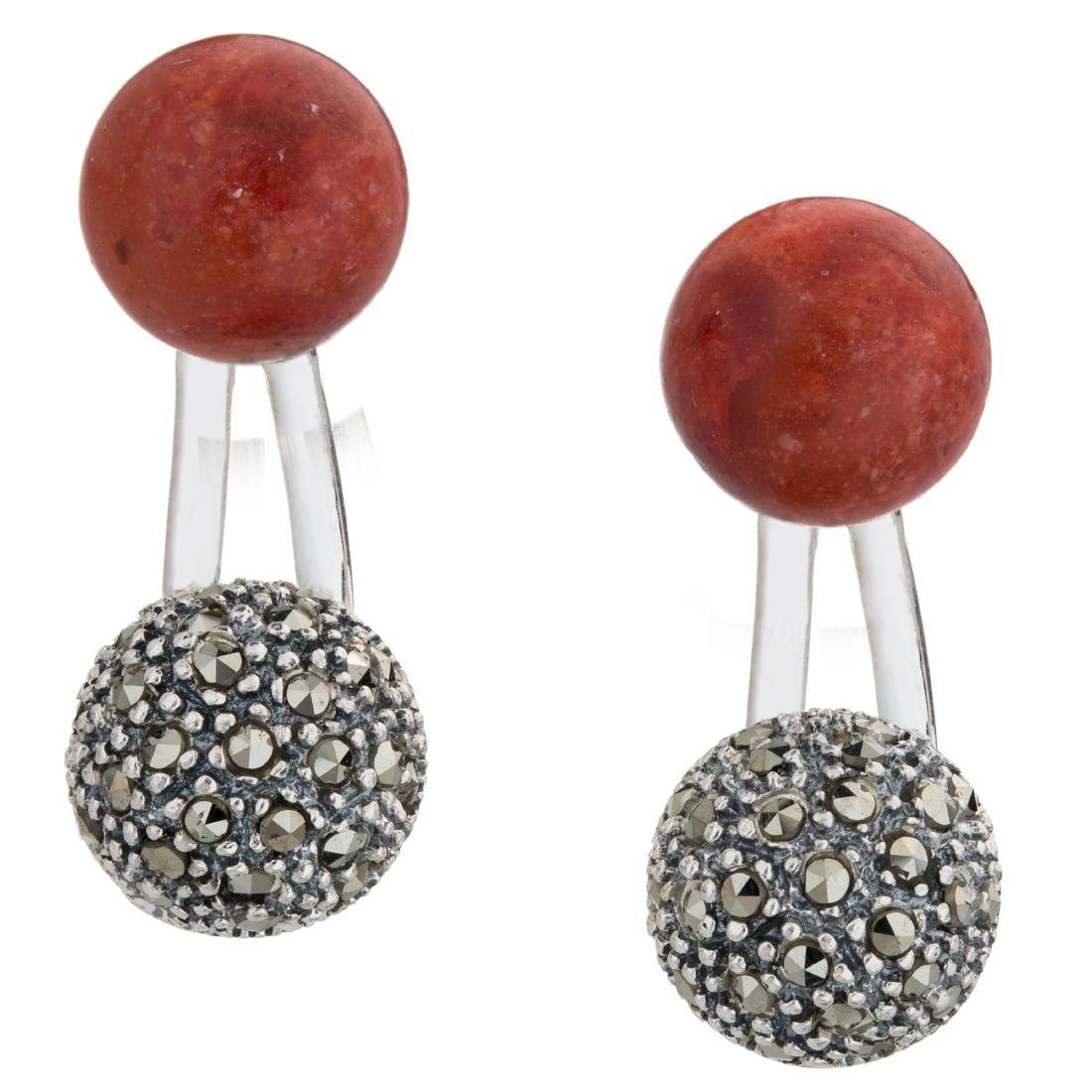 Red Coral with Marcasite Jacket Earrings - 2