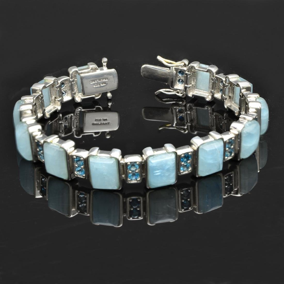 Milky Aquamarine & London Blue Topaz Bracelet