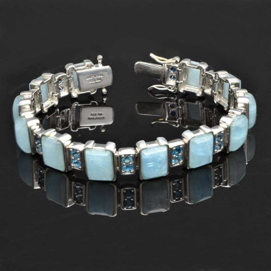 Milky Aquamarine & London Blue Topaz Bracelet