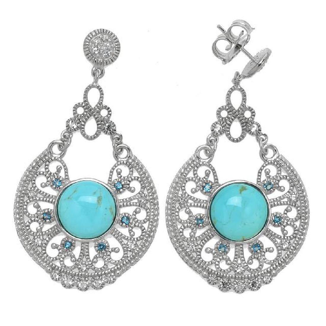 Silver Turquoise & Topaz Filigree Drop Earrings