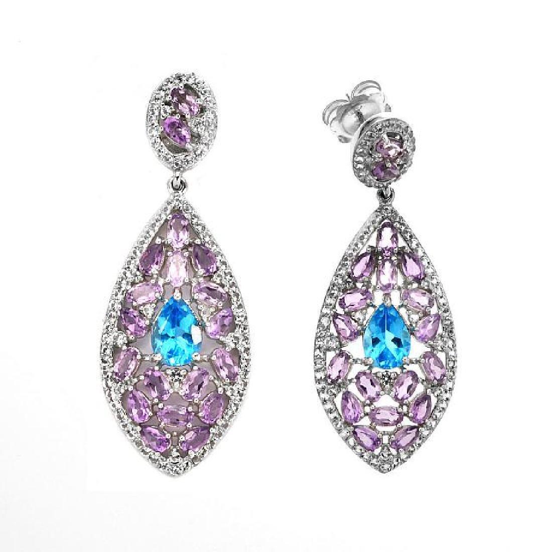 Silver 15.01ctw Multi Gemstone Drop Earrings