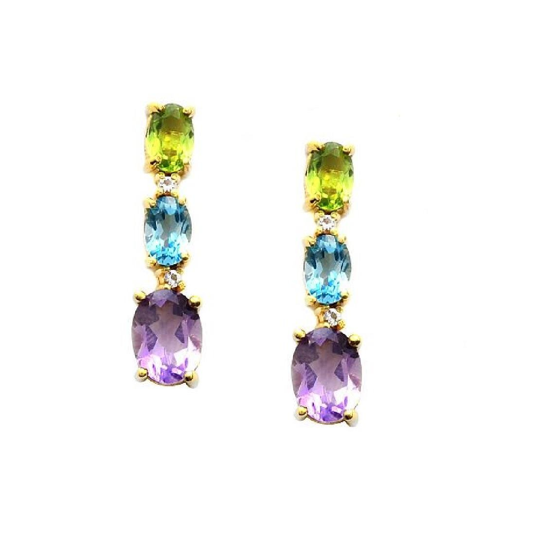 18k Gold Over Silver Gemstones Graduated Earrings