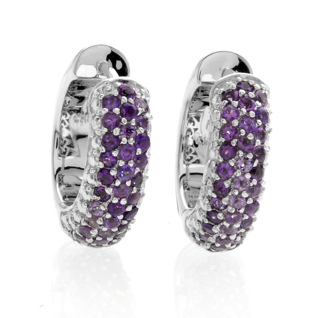 Silver Jade & Amethyst Reversible Hoop Earrings