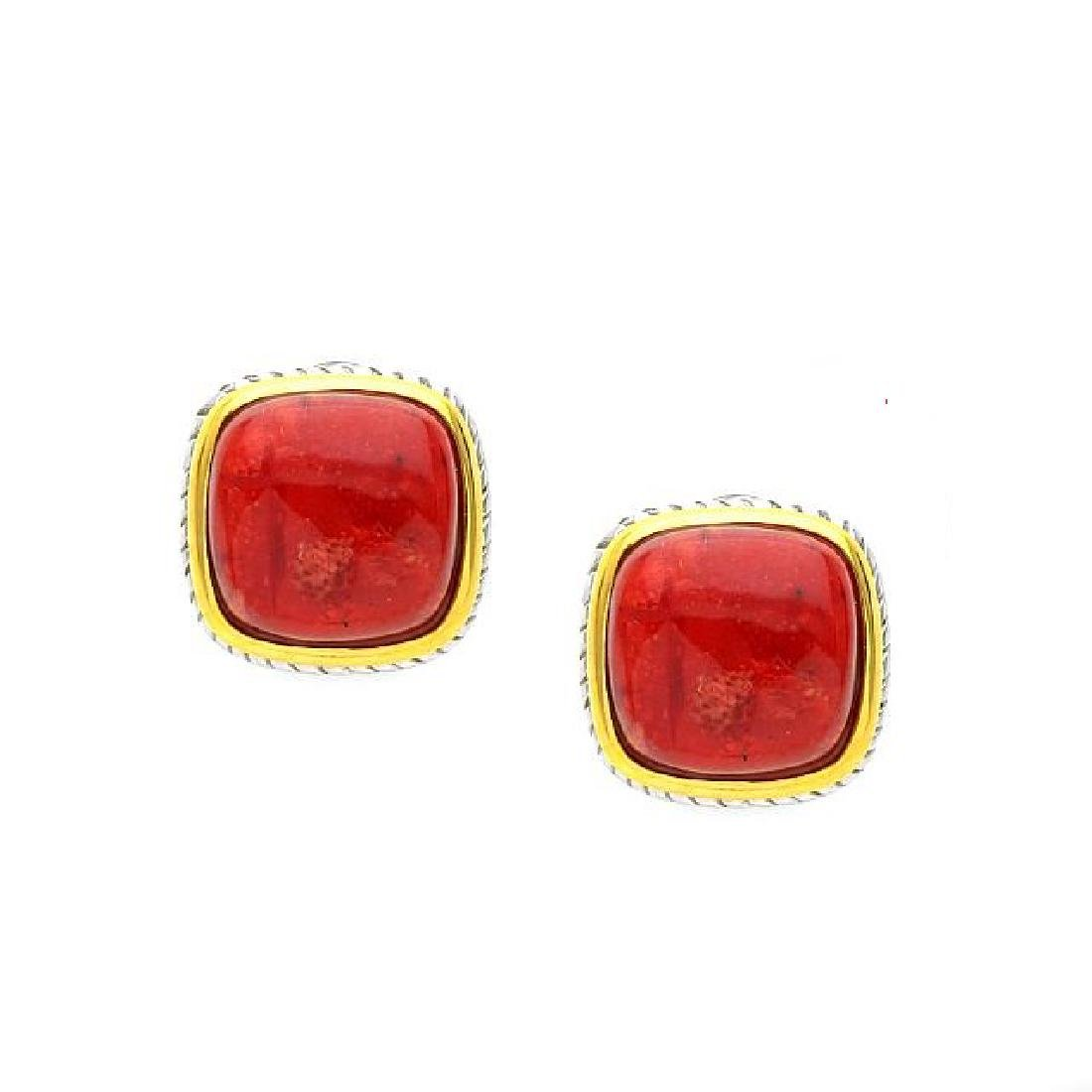Sterling Silver Two-Tone Red Coral Framed Earrings