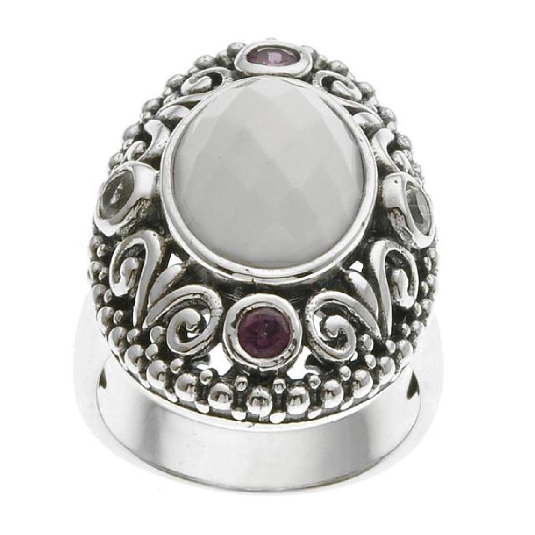 Sterling Silver White Agate & Gemstones Ring-SZ 8