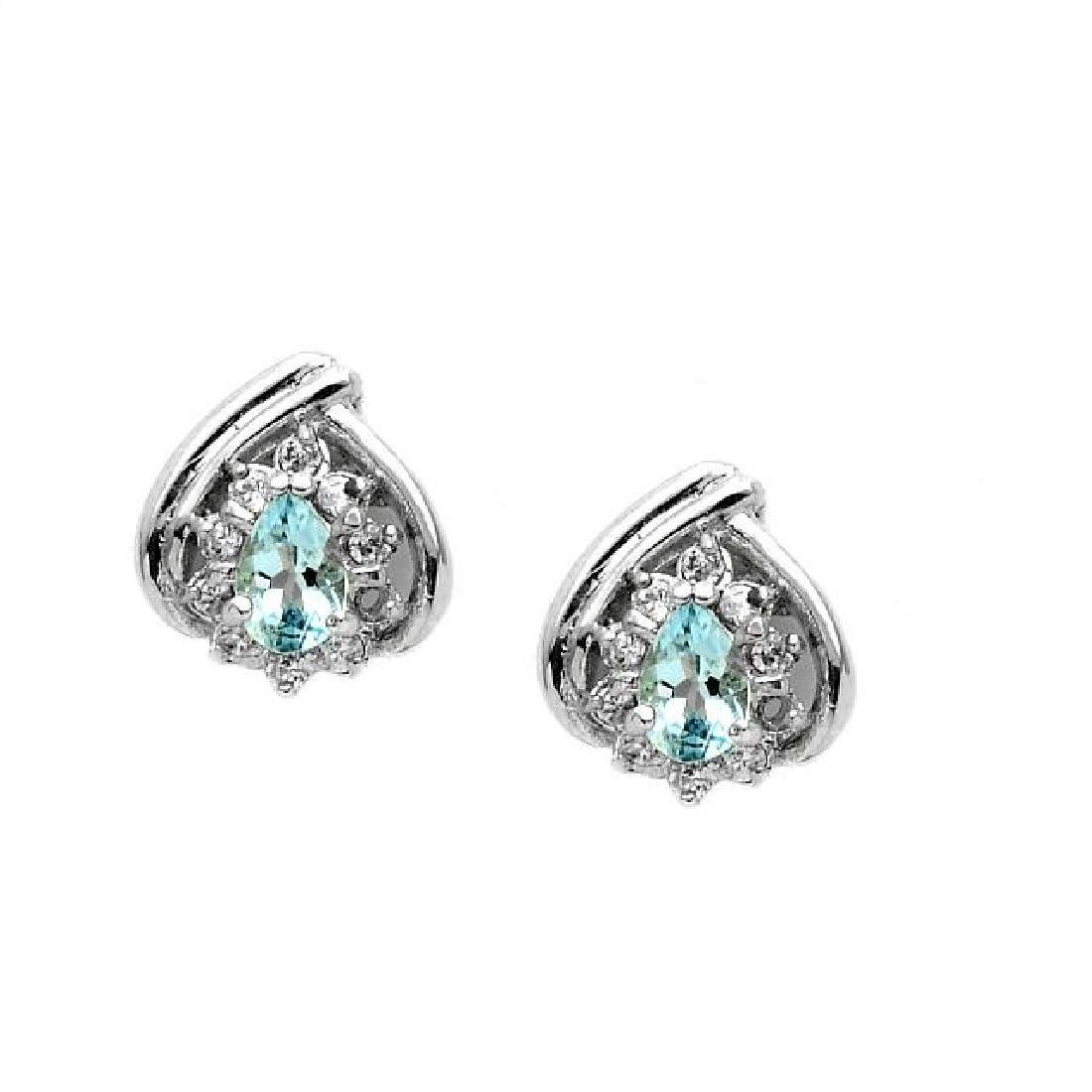 Sterling Silver Aquamarine & White Topaz Earrings