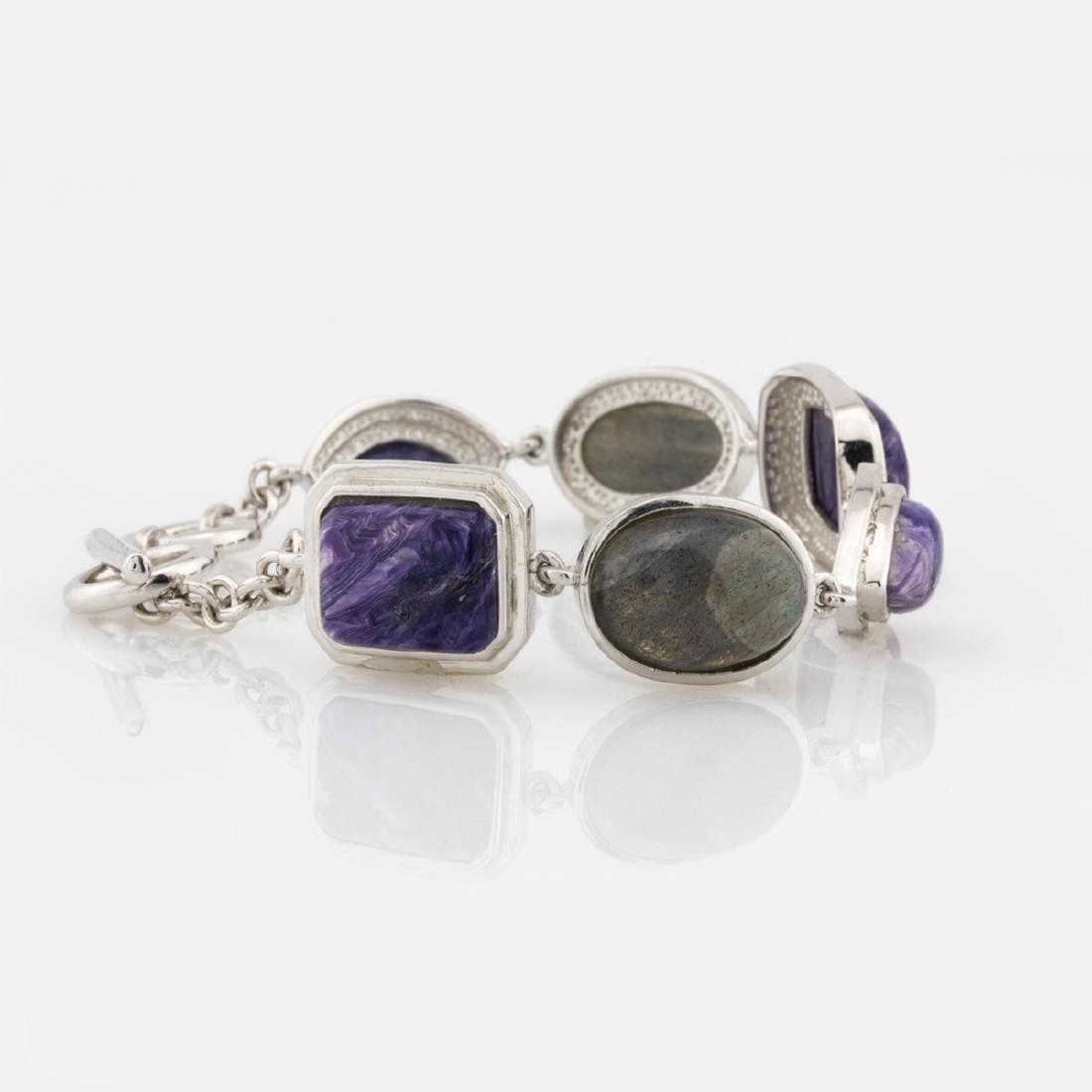 "Silver 7.5"" Charoite & Labradorite Toggle Bracelet"