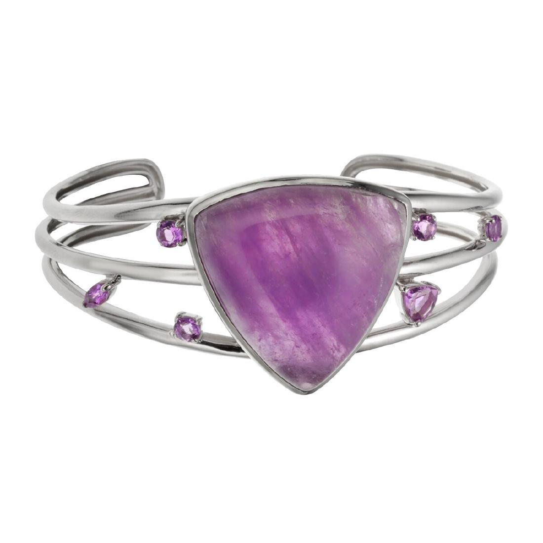 Sterling Silver Amethyst Trillion Cut Bracelet