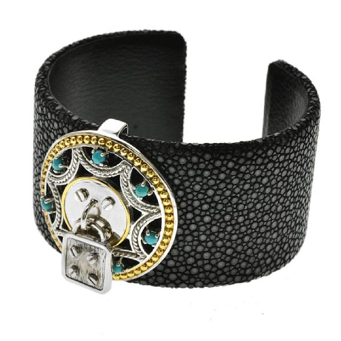 """Two-tone 7.5"""" Turquoise Stingray Leather Cuff"""