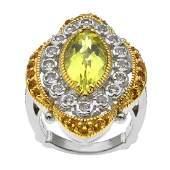 Two-tone Lemon Quartz & Gemstones Halo Ring-SZ 9