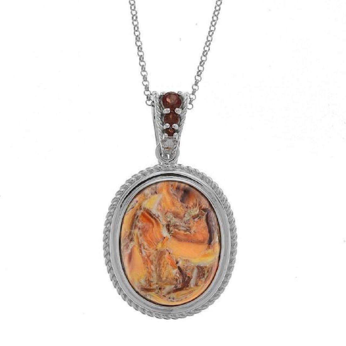 Sterling Silver Oval Lion's Paw & Garnet Pendant