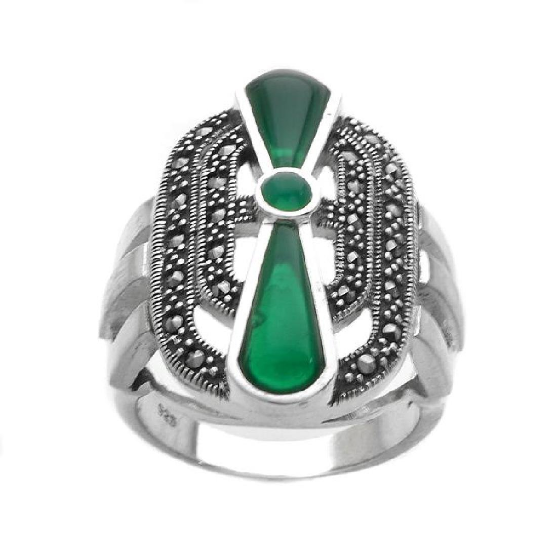 Sterling Silver Green Agate & Marcasite Ring-SZ 5