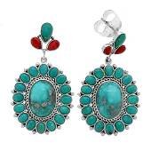 Silver Campo Frio Turquoise & Coral Drop Earrings