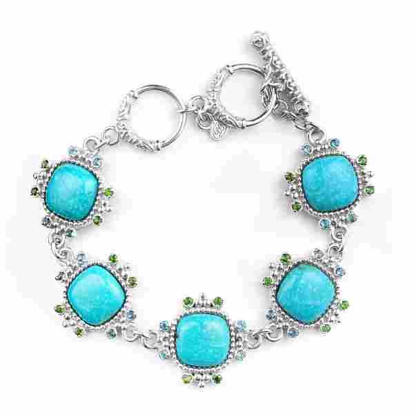 Silver Turquoise & Multi Gemstone Toggle Bracelet
