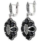 Silver Marcasite  Black Onyx Flower Drop Earrings