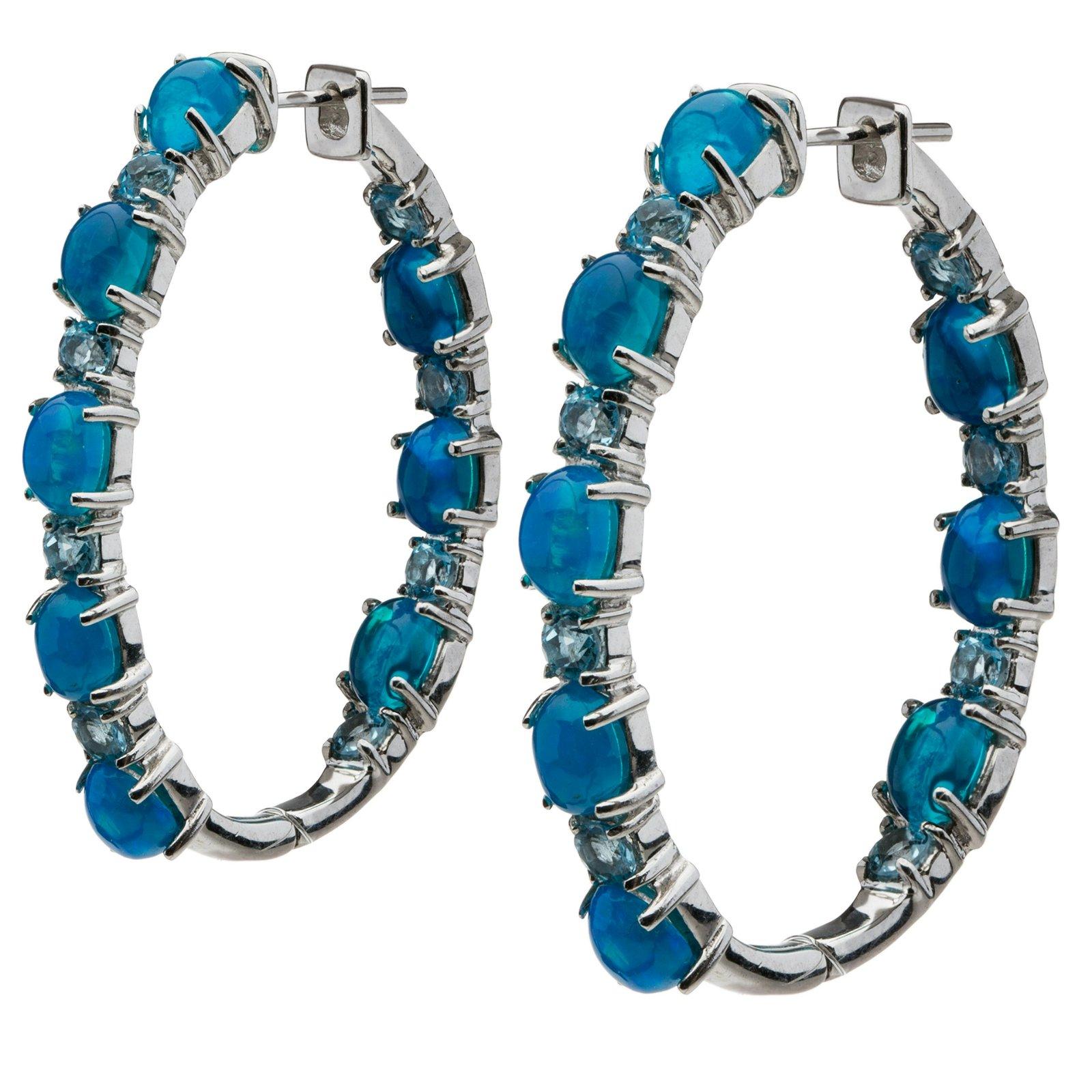 738dd6f5106a3 Sterling Silver Opal & Blue Topaz Hoop Earrings