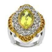 Two-tone Lemon Quartz & Gemstones Halo Ring-SZ 6