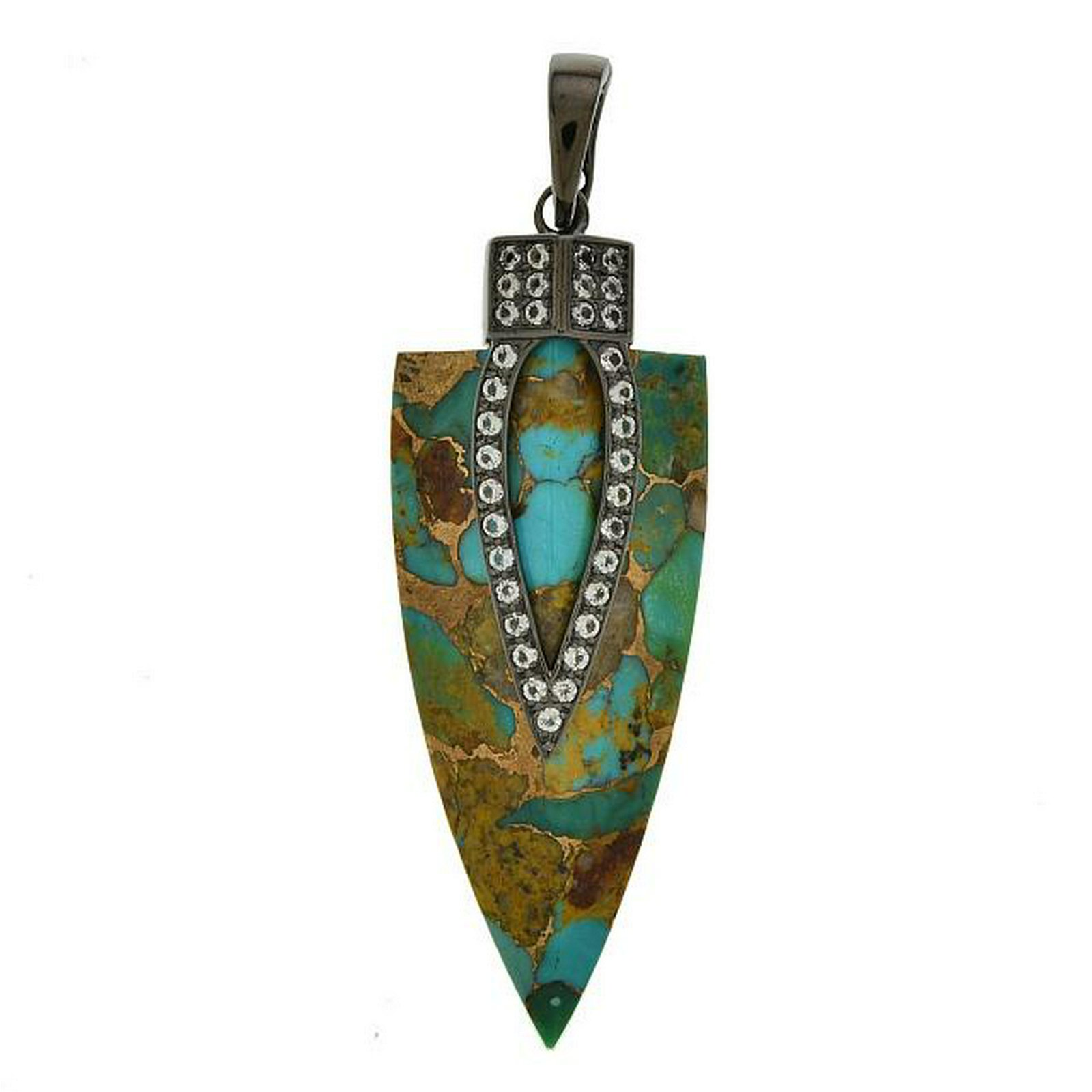 Sterling Silver Arrowhead  Turquoise Pendant