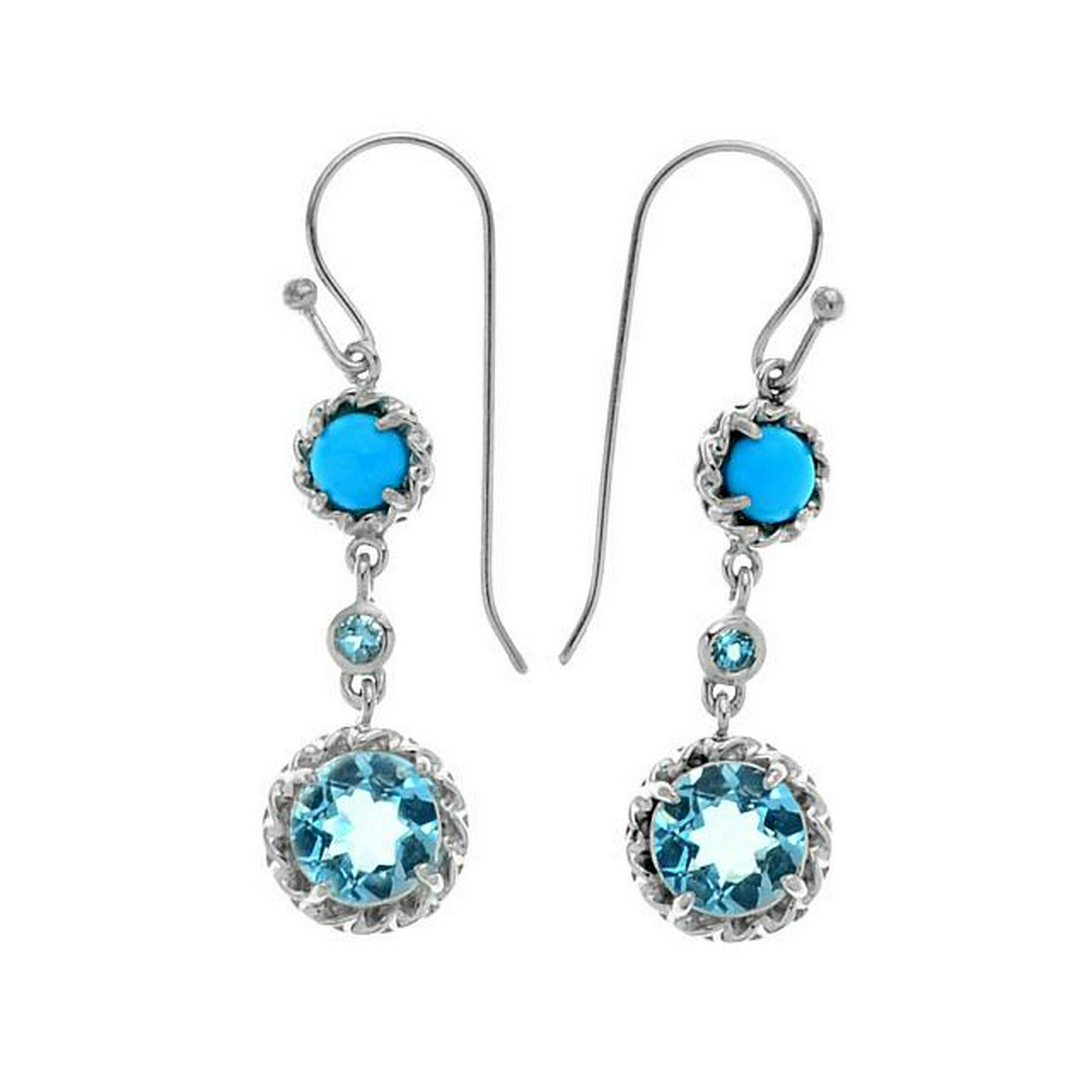 Silver 4.11ct Blue Topaz & Turquoise Drop Earrings