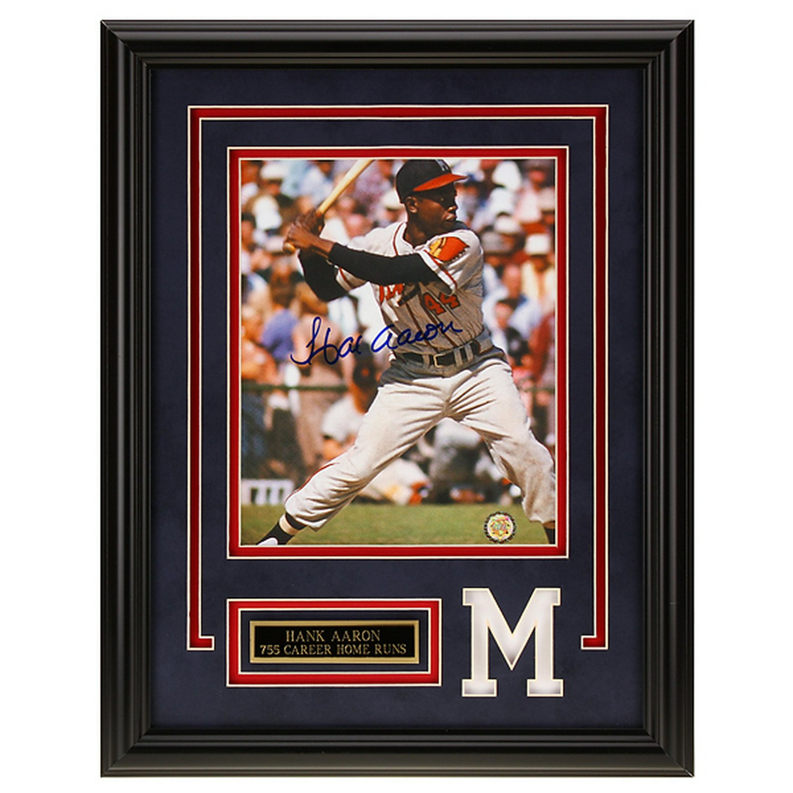 Hank Aaron Atlanta Braves 12x16 autograph GFA
