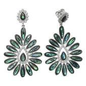 Silver Abalone  White Topaz Flower Drop Earrings