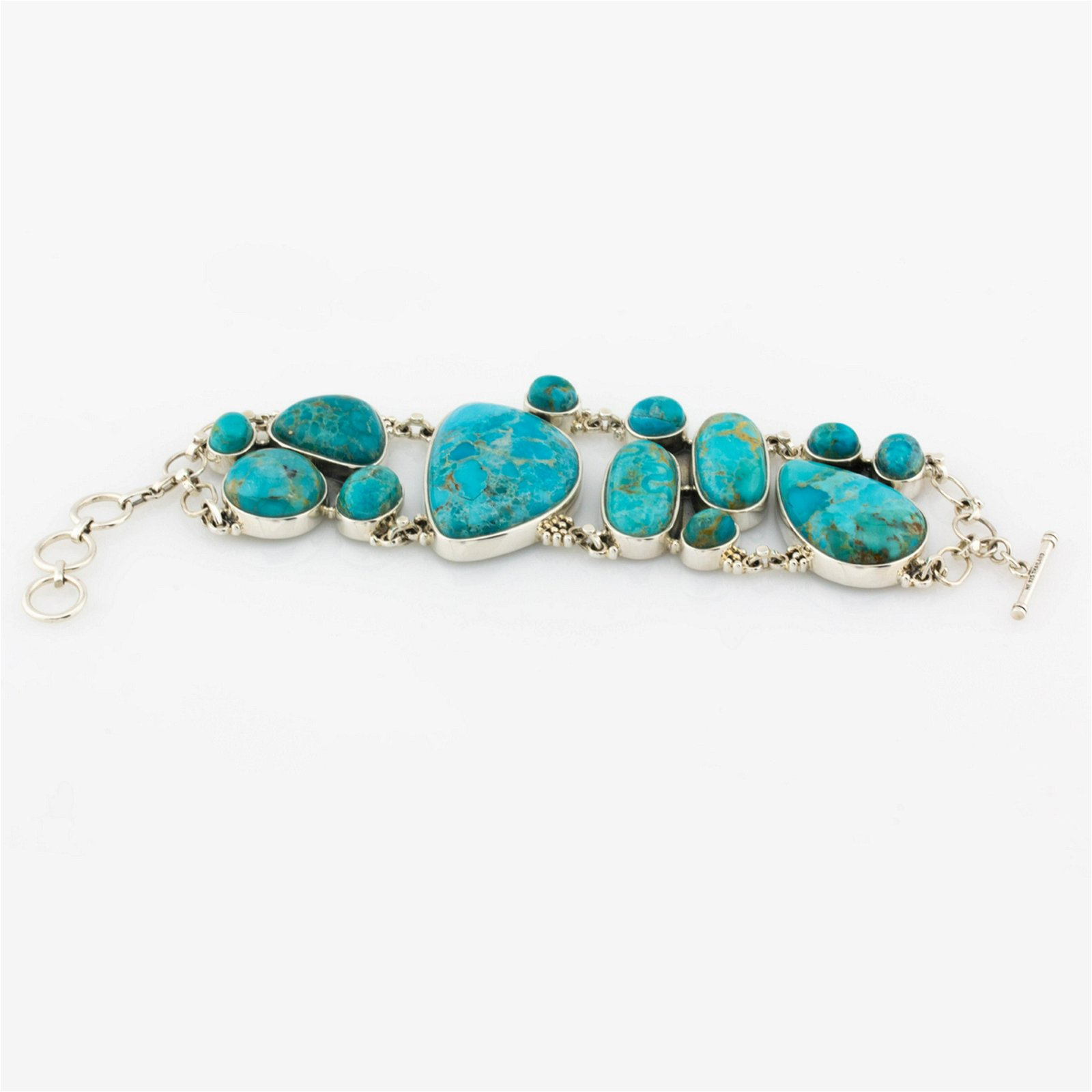 """Sterling Silver Turquoise Toggle Bracelet 8"""""""