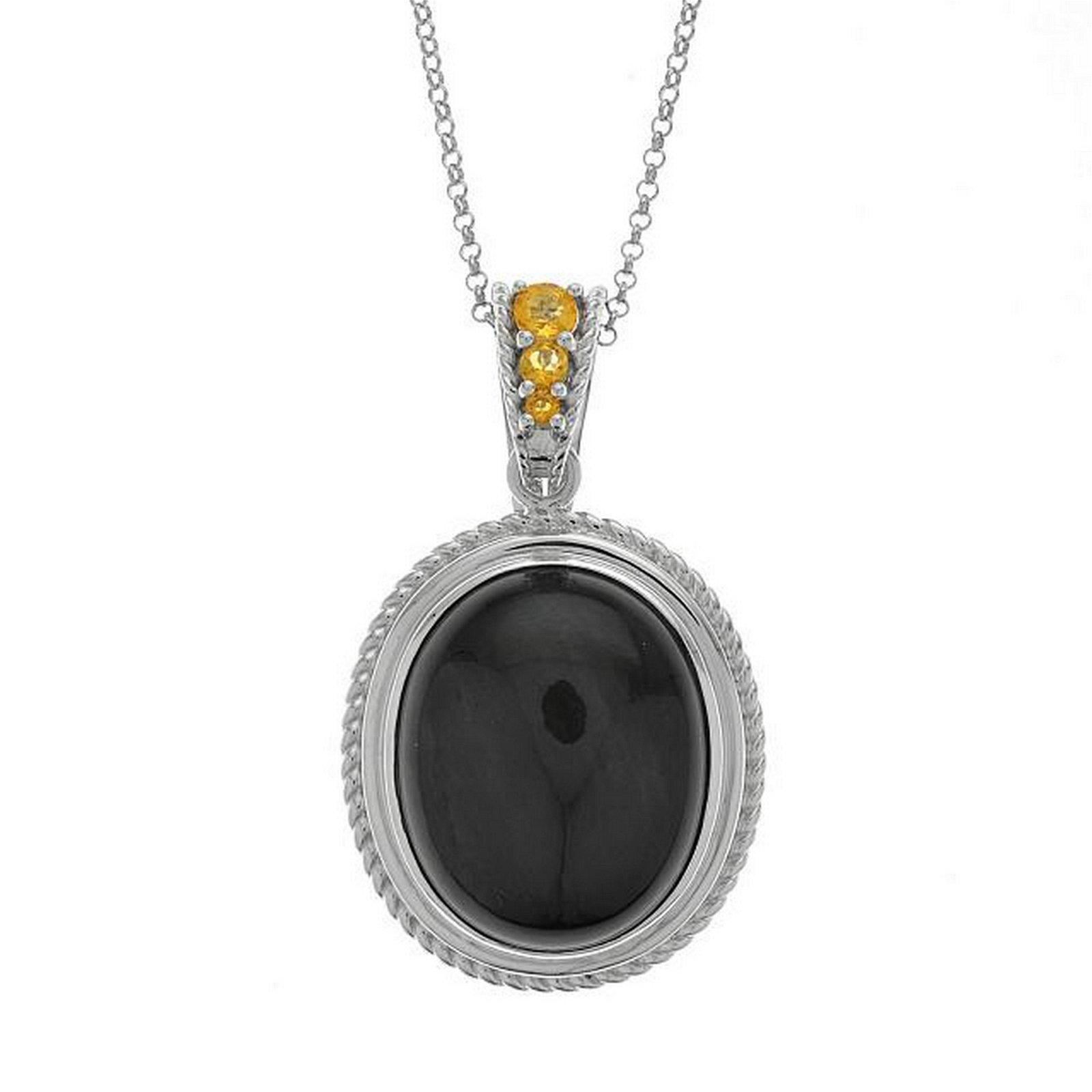 Silver Oval Velvet Obsidian & Citrine Pendant