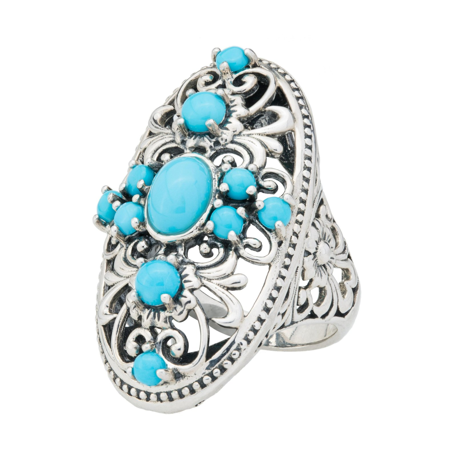 Sterling Silver Turquoise Elongated Ring-SZ 6