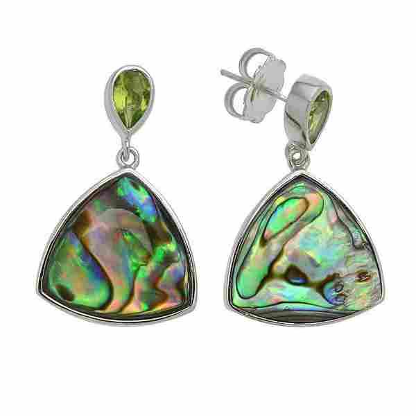 Sterling Silver Abalone & Peridot Drop Earrings