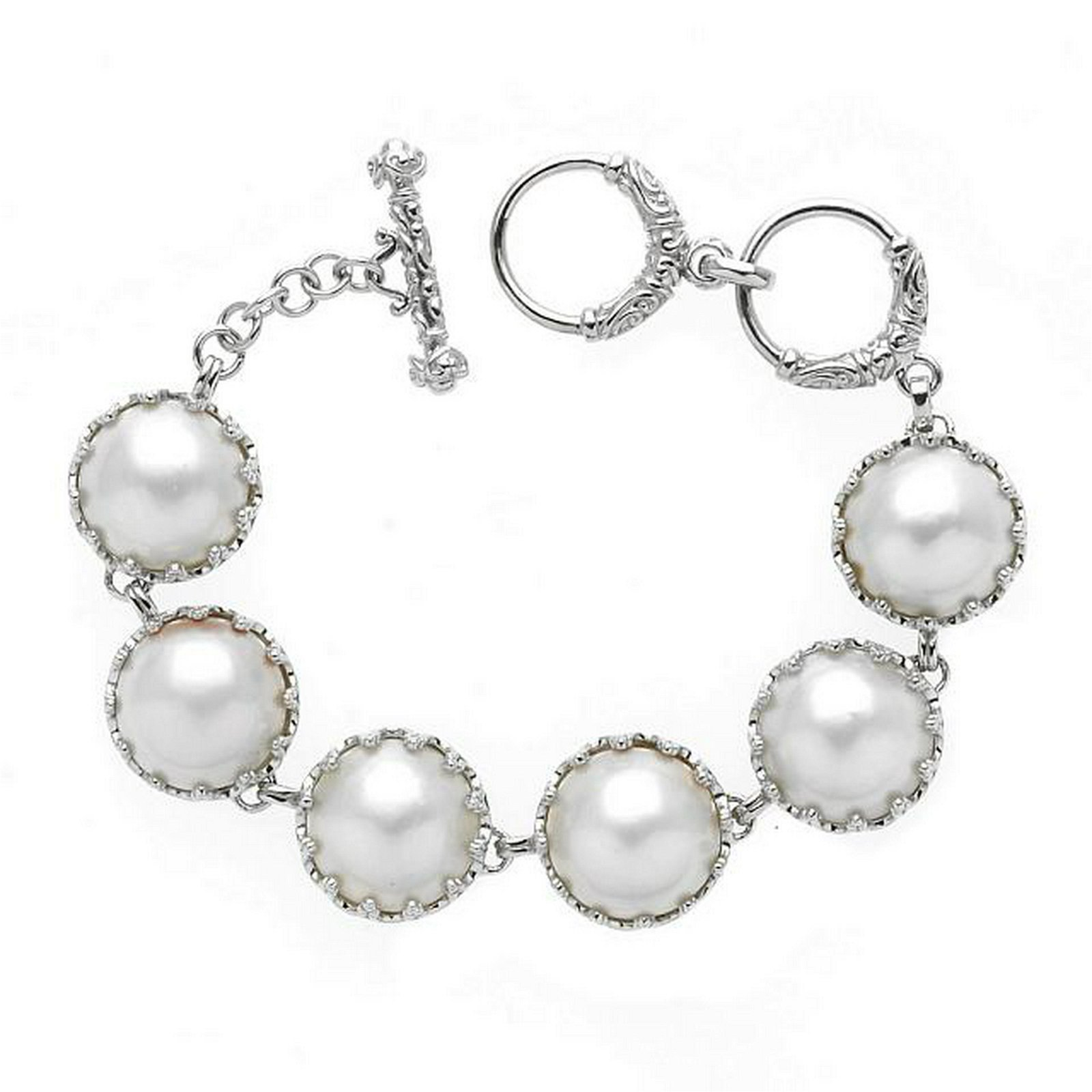 Sterling Silver White Mabe Pearl Toggle Bracelet
