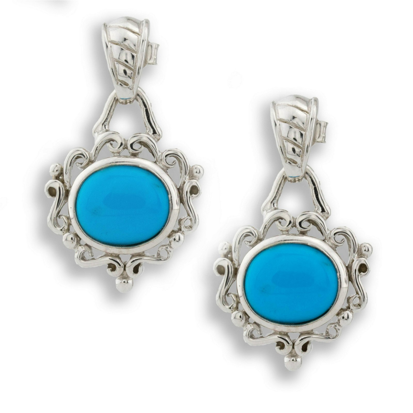 Silver Sleeping Beauty Turquoise Scroll Earrings