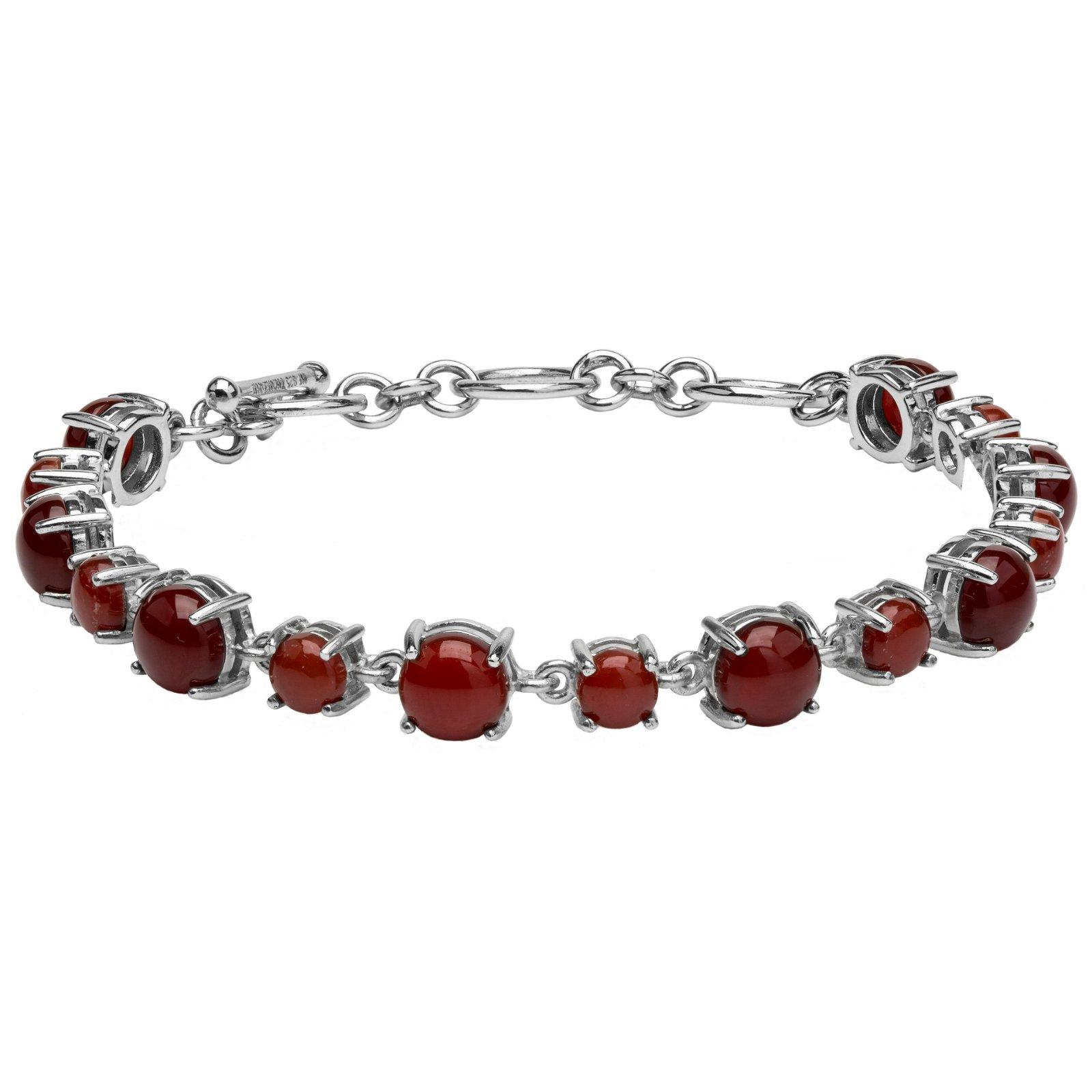 """Silver Carnelian Toggle Line Bracelet 7.75"""""""