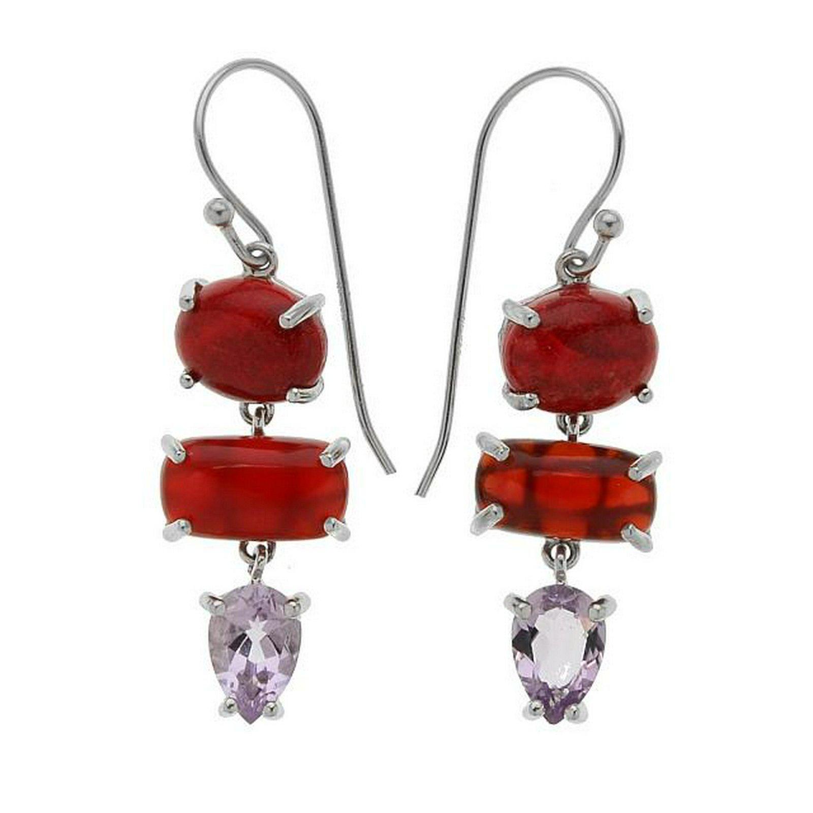 Silver 2.46ct Amethsyt Three-Stone Drop Earrings