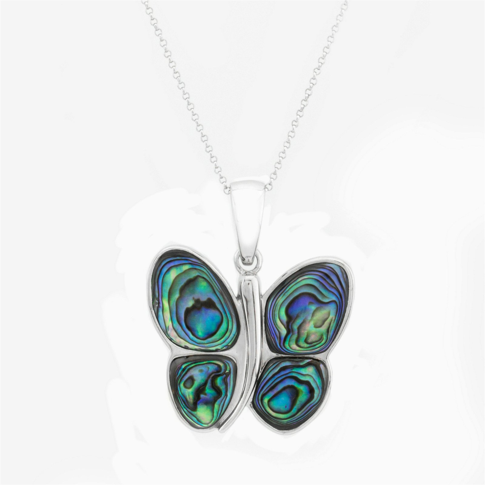 Sterling Silver Abalone Shell Butterfly Pendant