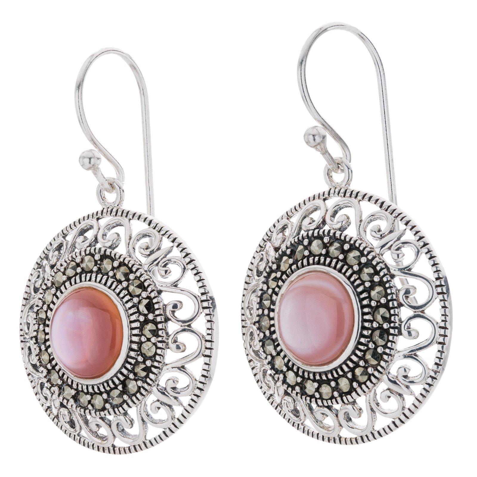 Silver Pink MOP & Marcasite Dangle Earrings