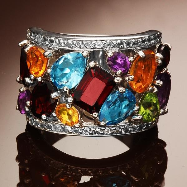 Sterling Silver Multi Gemstone Ring-SZ 5