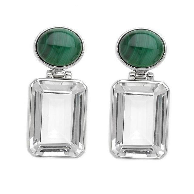 Silver 22.80ctw Quartz & Malachite Drop Earrings