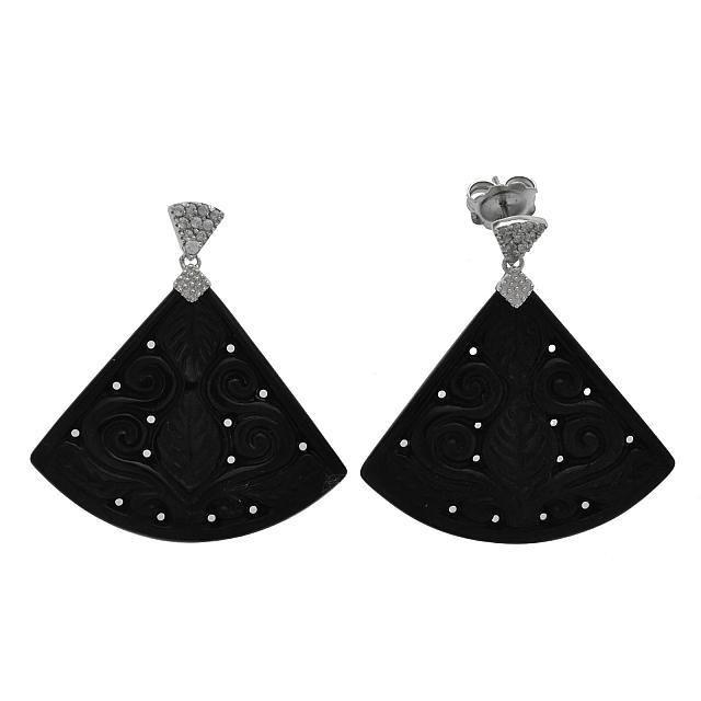 Silver Carved Black Jade & Zircon Fan Drop Earring