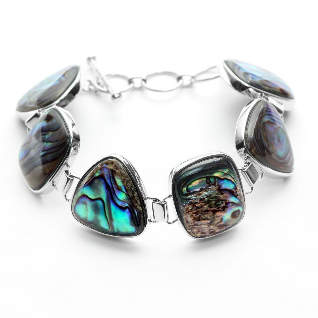 Sterling Silver Multi Cut Abalone Toggle Bracelet