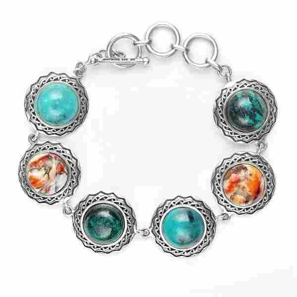 "Silver Multi Gemstone Toggle Bracelet 7.5"""