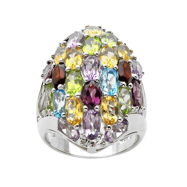 Silver 6.35ctw Oval Multi Gemstone Dome Ring-SZ 10