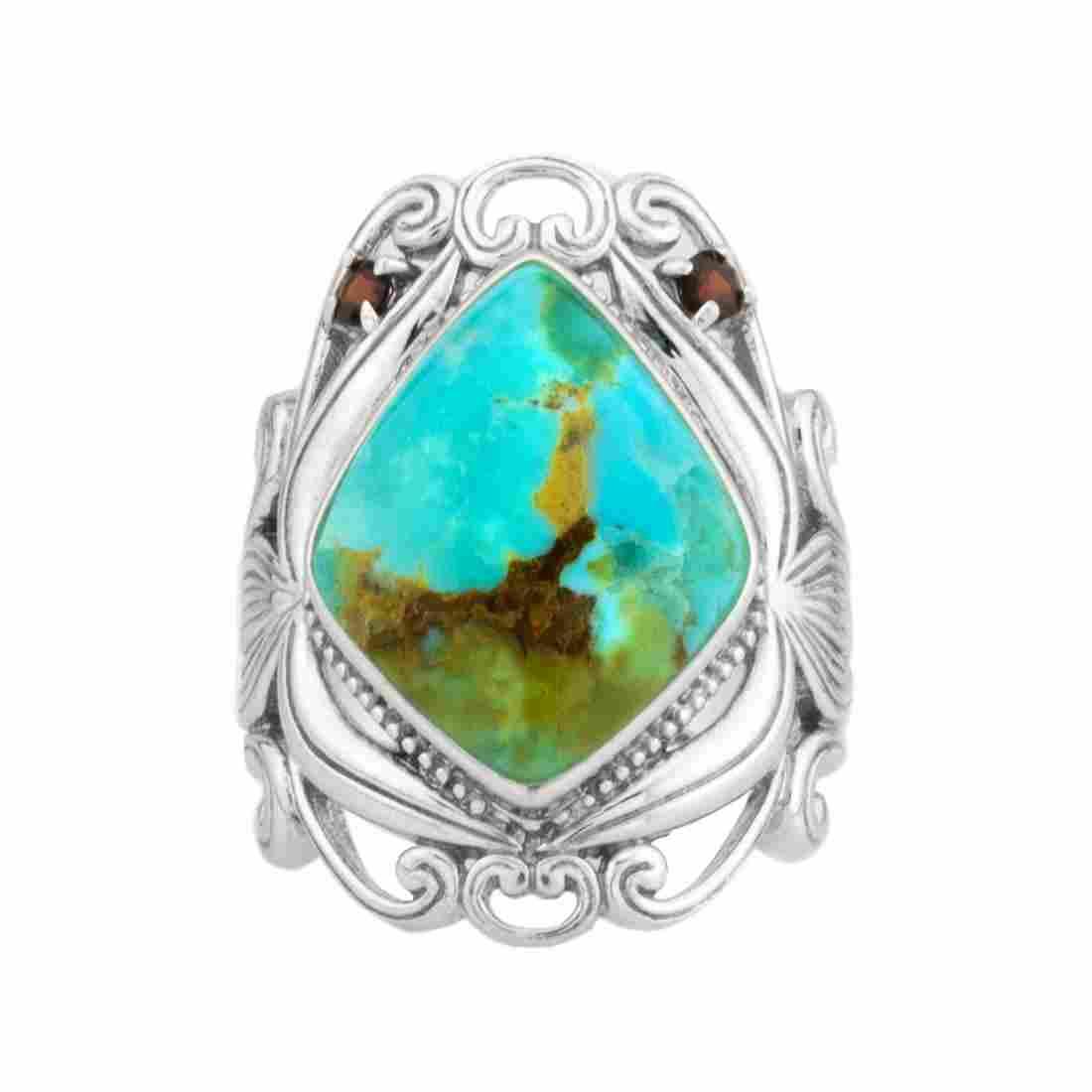Silver Turquoise & Garnet Scrollwork Ring-SZ 5