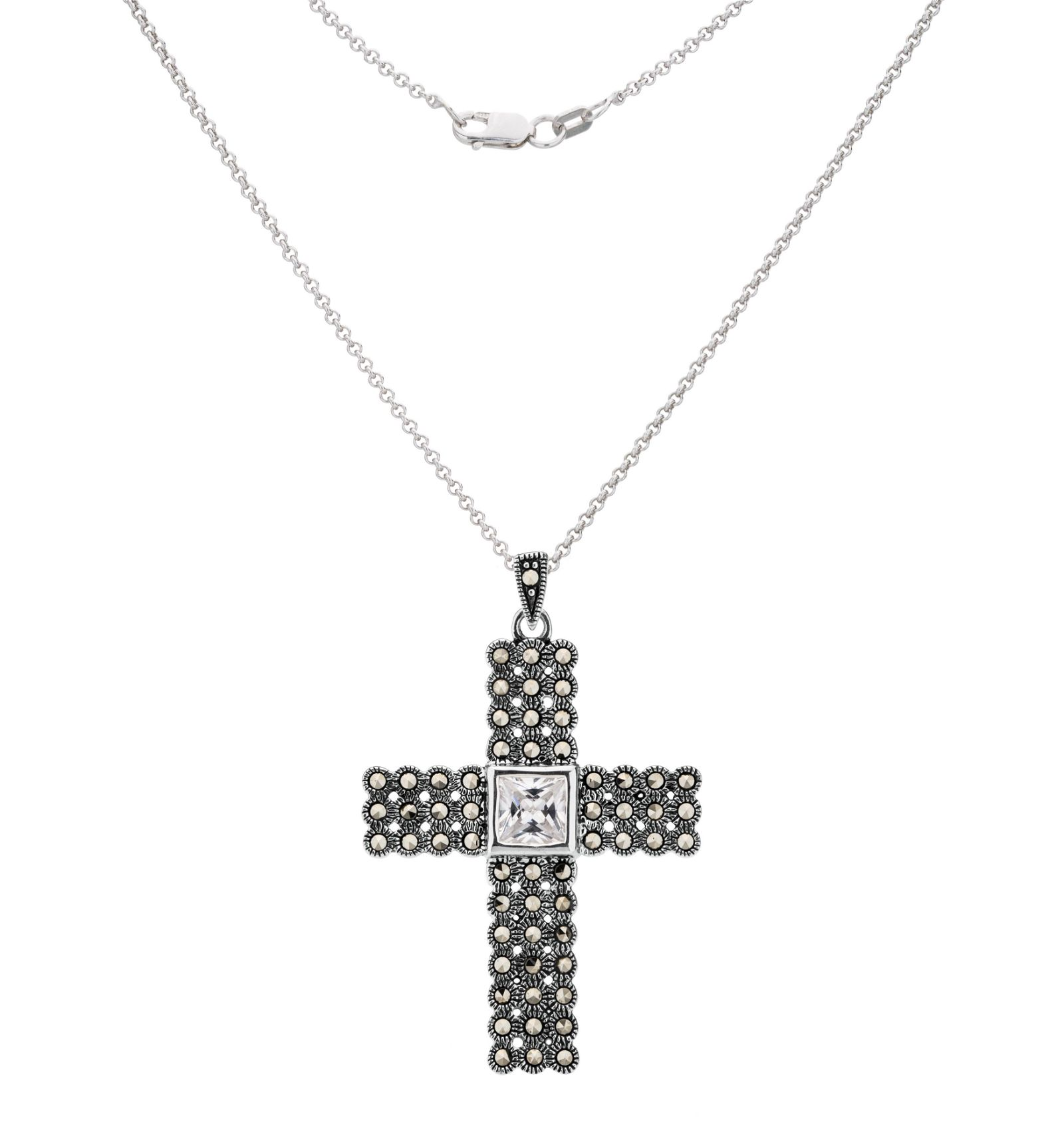 Sterling Silver Marcasite & CZ Cross Pendant
