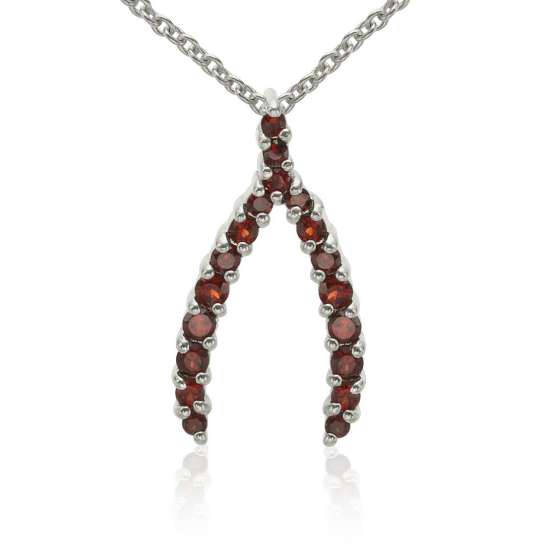 Sterling Silver Round Garnet Wishbone Pendant